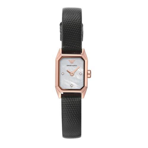 EMPORIO ARMANI Gioia Analog Black Leather Watch