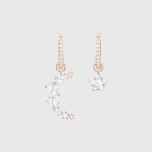 SWAROVSKI Penélope Cruz Moonsun Drop Pierced Earrings, White, Rose-gold tone plated