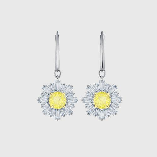 SWAROVSKI Sunshine Pierced Earrings, White, Rhodium plated