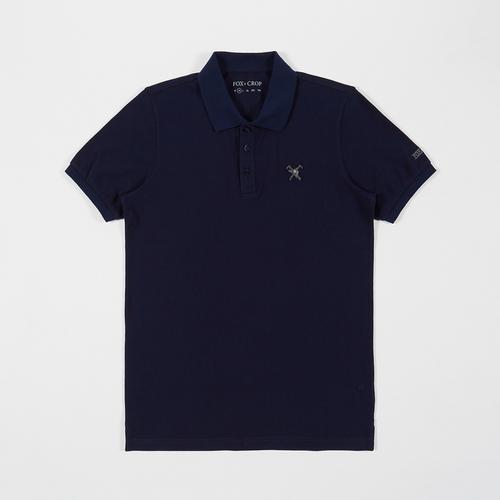 Fox & Crop Men Navy Polo Shirt Size S