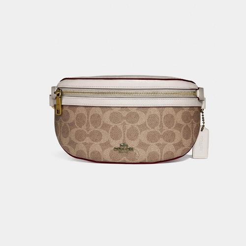 COACH Belt Bag In Signature Canvas - Brass/Tan Chalk