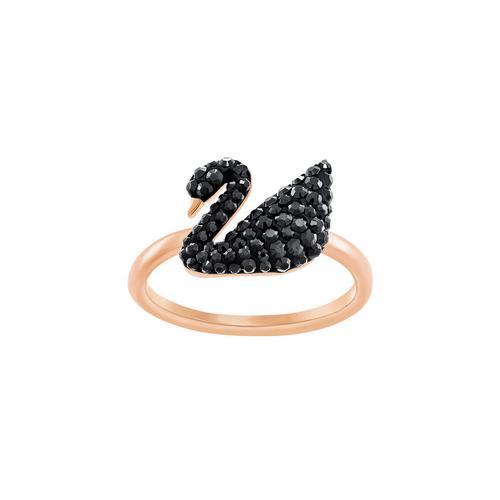 SWAROVSKI Iconic Swan Ring, Black, Rose gold plating-Size 52