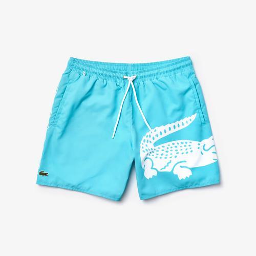 LACOSTE Men's Oversized Crocodile Print Light Quick-Dry Swim Shorts - M