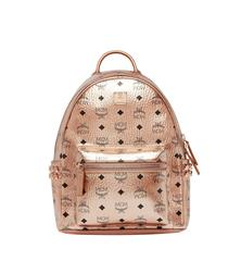 MCM Stark Side Studs Backpack in Visetos - Champagne Gold (Small)