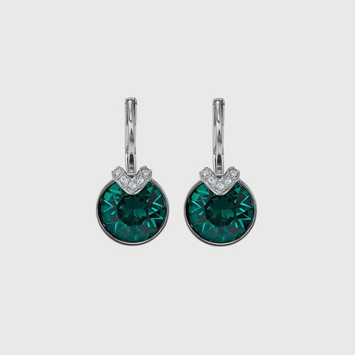 SWAROVSKI Bella V Pierced Earrings, Green, Rhodium plated