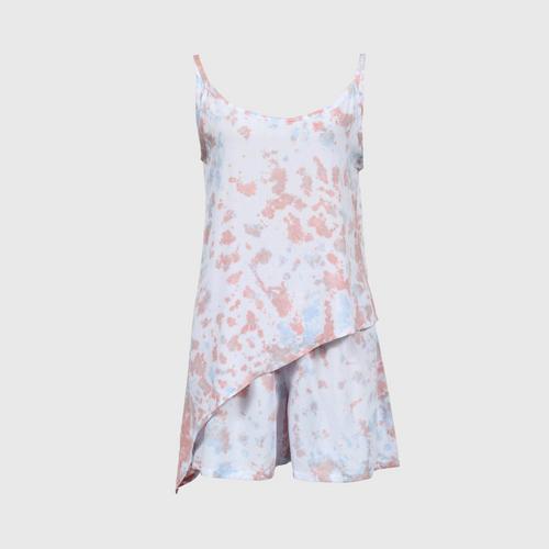 WONGDUENMATYOM - Men's oblique tie-dye one-piece set, broken stone pattern FREE SIZE