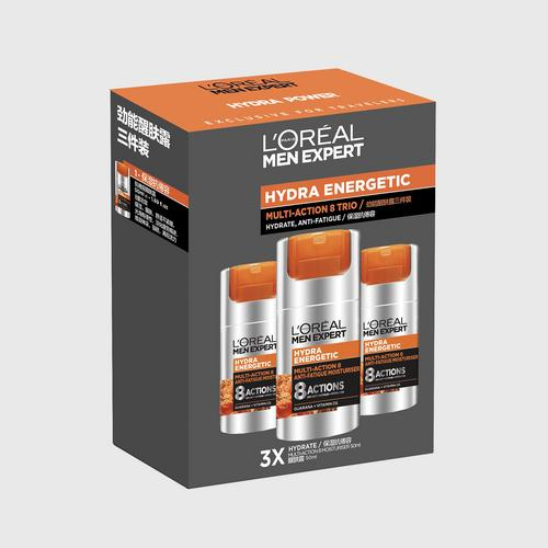 L'ORÉAL PARIS - HYDRA ENERGETIC - MULTI-ACTION 8 TRIO - MULTI-ACTION850ml x3 - MEN SKINCARE - SET