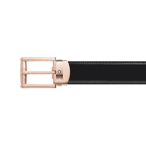 MONTBLANC Rectangular Roll 3 Rings Motif Shiny & Matte Stainless Steel PVD Rose Gold-Coated Pin Buckle Belt