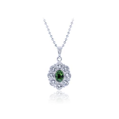 12VICTORY Flower Fern Green  Necklace