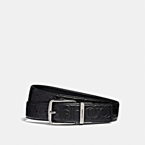 COACH 38MM CTS Harness Belt in Signature Leather - BLACK/BLACK