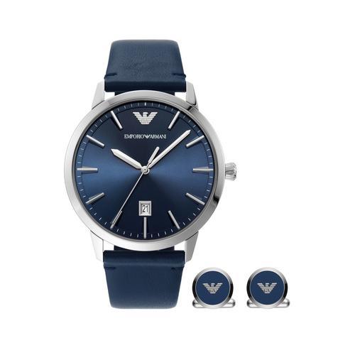 EMPORIO ARMANI Ruggero Analog Blue Leather Watch