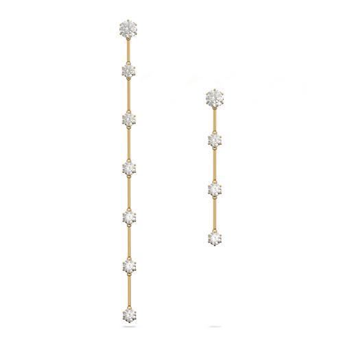 SWAROVSKI Constella earrings Asymmetrical, White, Gold-tone plated