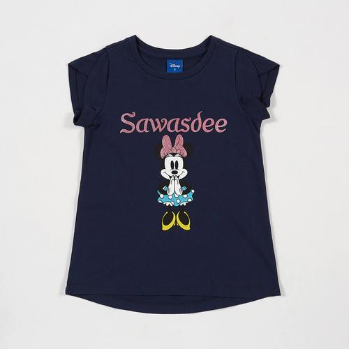 Disney Girl T-Shirt Minnie-Sawasdee Print and Gliter-S