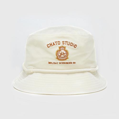CHATO STUDIO Velvet Bucket Hat-White