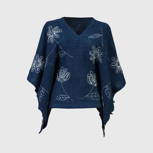 NINECHAIDEE - 2 in 1 hand embroidered cotton clothes Medium indigo