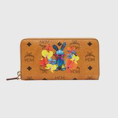 MCM Rabbit Zip Around Wallet in Floral Visetos Large