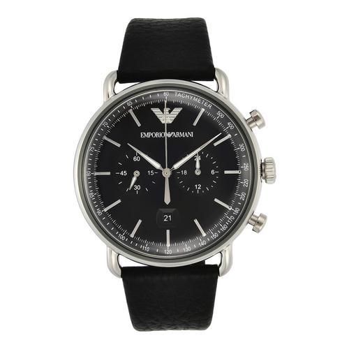 EMPORIO ARMANI Aviator Chronograph Black Leather Watch