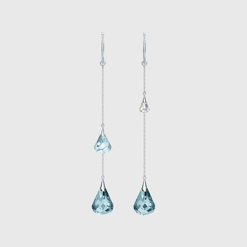 SWAROVSKI Spirit Hoop Pierced Earrings, Aqua, Rhodium plated