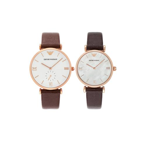 EMPORIO ARMANI Gianni T-Bar Analog Brown Leather Watch 40mm & 32mm (two piece set)