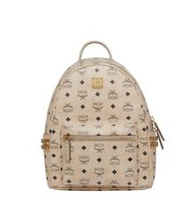 MCM Stark Side Studs Backpack in Visetos - Beige (Small)